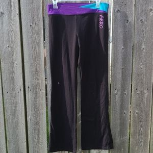 Black Yoga Pants with Turquoise and Purple